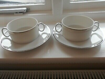 THOMAS OF GERMANY SOUP COUPES & PLATES - Platinum Band X 2 • 6.99£