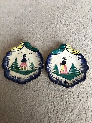 A Pair Of Vintage Henriot Quimper French Pottery. Scallop Shell Man & Women.  • 20£