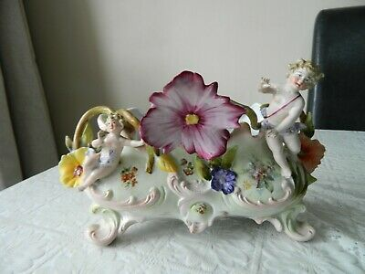 Vintage Ceramic Bowl With Cherub And Floral Decoration - Dresden Style • 19.99£