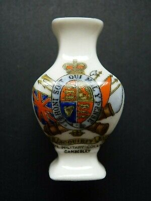 Arcadian China Crested Vase MILITARY COLLEGE CAMBERLEY Crest • 14.99£