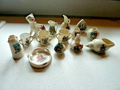 14 Pieces Crested China Most Hand Painted. Some Very Unusual. • 12£