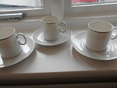 THOMAS OF GERMANY PORCELAIN - COFFEE CUPS/CANS & SAUCERS X 3 Platinum Band • 10.99£