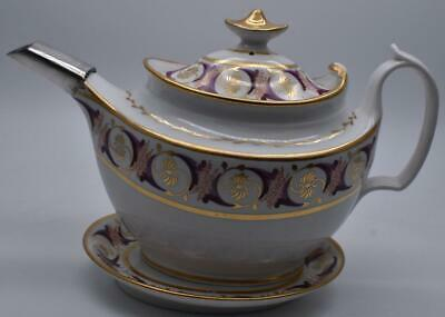 ANTIQUE JOHN ROSE COALPORT TEAPOT AND STAND - GILDED AND PAINTED Circa 180 • 0.99£