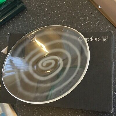 ORREFORS Signed Swedish Art Glass Pond Dish White Swirls Exquisite Little Piece • 10£