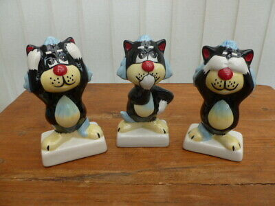 Lorna Bailey Art Deco Cat Figures Hear See And Speak No Evil • 69.99£