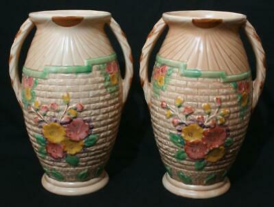 Antique 1930s Very Large True Pair Arthur Wood Twin Handled Vase Vases 10  • 39.99£