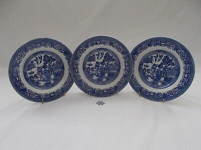 VINTAGE CERAMIC BLUE & WHITE WOODS WARE WILLOW PATTERN RIMMED BOWLS DISHES X 3 • 4.99£
