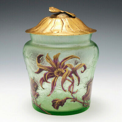 French Cameo Glass Biscuit Barrel Ormolu Butterfly Cover C1900 • 540£