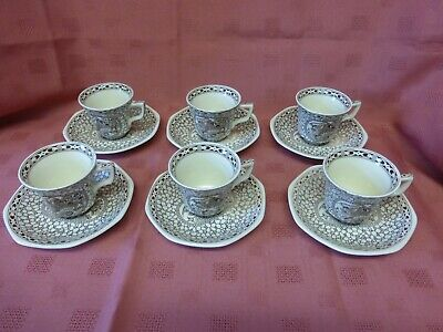 RARE Lovely Adams Ironstone Coffee Set- 6 Cups & 6 Saucers • 19.99£