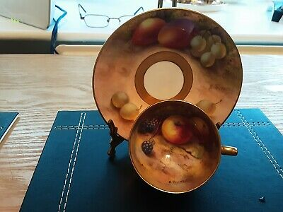 Royal Worcester Hand Painted Fruit Cup And Saucer Signed E.townsend Circa 1924 • 62£