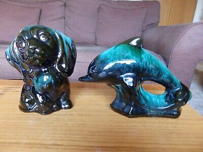 Canadian Blue Mountain Pottery Dolphin & Puppy Dog Animal Figurines • 10£