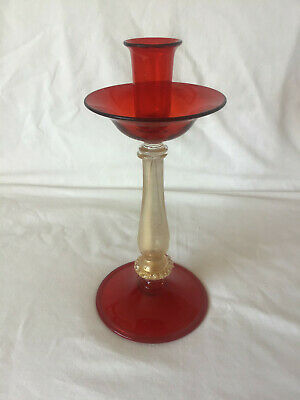 Venetian Glass Candlestick Red Glass Sconce With Clear Glass And Aventurine Stem • 5£