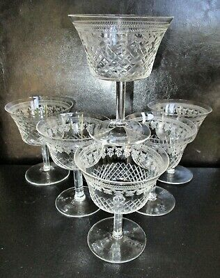Set 6 Antique Small Wine Cocktail Glasses  Acid Etched Cut Pall Mall Edwardian  • 49.99£