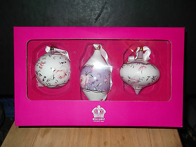 Royal Albert 3 Christmas Tree Hanging Baubles Pastel Purple Confetti Boxed • 21.99£