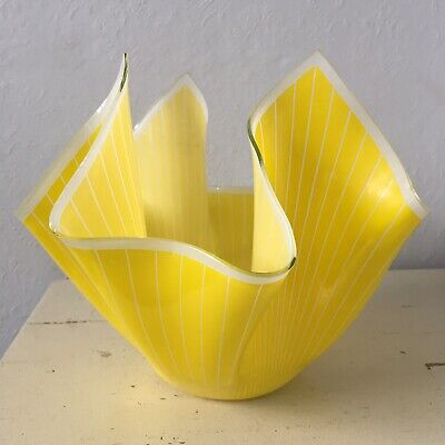 Very Large Vintage Chance Glass Handkerchief Vase - Yellow & White - 8  Tall • 19.99£