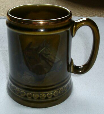 Ceramic Pottery Tankard, Green, Horses' Heads Design, Unmarked Lord Nelson Ware • 4.99£