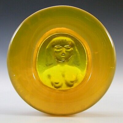 LABELLED Boda Yellow Glass Nude Lady  Eve  Bowl By Erik Hoglund • 65£