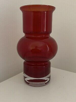 Riihimaki Studio Art Red Hooped Glass Vase -  • 35£