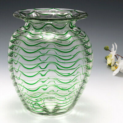 A Stevens And Williams Green Trailed Vase C1930 • 268£