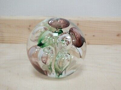 Langham Glass Paper Weight Purple & Green Bubbles  (Hol) • 9.99£