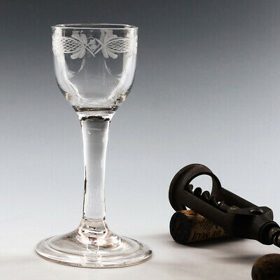 Neoclassical Engraved Georgian Wine Glass 1745-75 • 168£