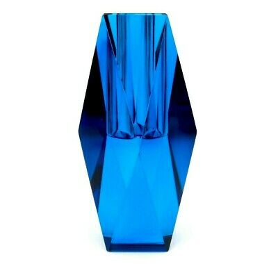 Superb Space Age UFO Art Glass Faceted Vibrant Electric Green Block Vase • 10.52£