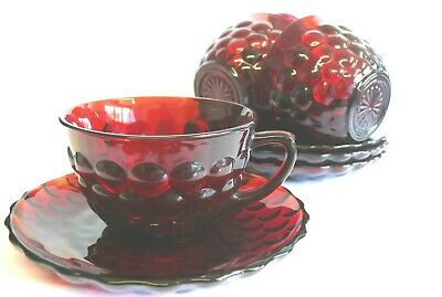 Rare American Anchor 1964 Hocking Ruby Red Bubble  Glass Cups & Saucer • 25£