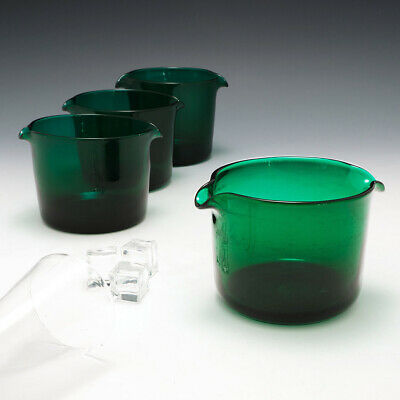 Set Four Bristol Green Wine Glass Rinsers C1830 • 186£