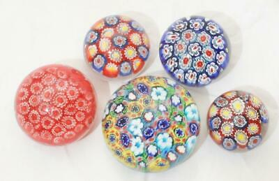 Lovely Vintage Cane Millefiori Canework Glass Paperweight Lot Of 5 • 7£