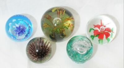 Lovely Vintage Glass Paperweight Lot Of 5 Inc Canework Bubbles Flowers • 1.20£