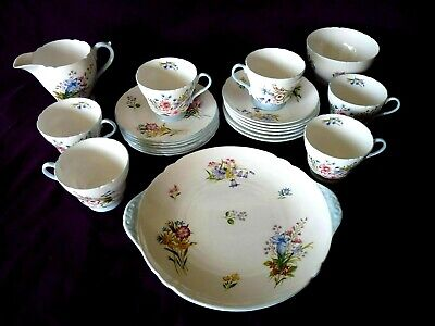 Shelley Tea Set 21pc-  Pretty Wild Flowers Lush - Investment   • 200£