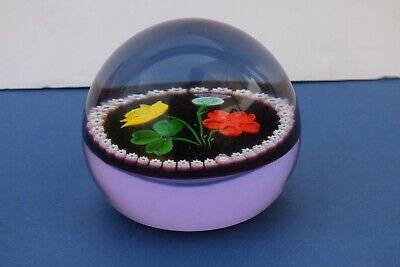 Vintage Glass Millefiori Paperweight Rose Daffodil Thistle Clover & '50' In Cane • 22£