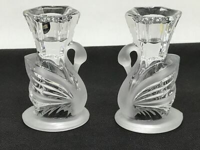 Stunning USA American Clear & Frosted Crystal Glass Swan Candlesticks / Holders. • 20£