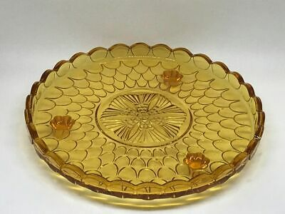 Vintage Bagley Art Deco Amber Pressed Glass Cake Stand / Plate • 25£