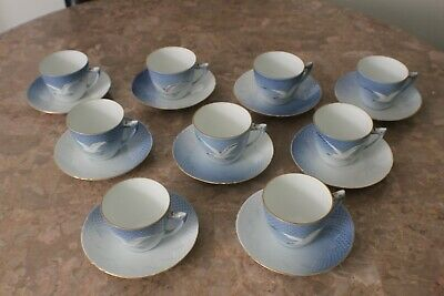 9 Vintage B&G Denmark Seagull Porcelain Coffee Cups & Saruces 102 • 95.09£