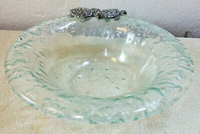 Vintage Aqua Recycled Glass Bowl With Metal Turtle Accent Beach House Ocean Sea • 23.40£
