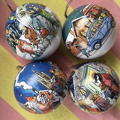 Set Of 4 Emma Bridgewater Christmas Baubles - Winter Scene - New For Xmas 2020 • 18.95£