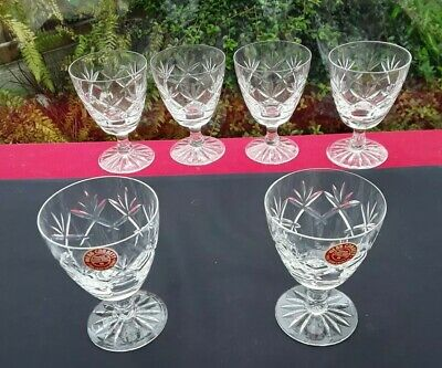 6 Webb Corbett Crystal Glasses Prince Charles Cut Handcrafted Excellence • 18.75£