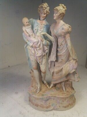 Large Bisque Couple With Baby  Figure ,  • 31£