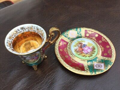 Antique Alt Wien Old Vienna Green/gold Chocolate Cup & Saucer Fragonard Scenes • 29.99£