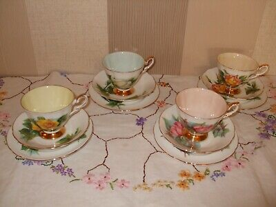 Paragon World Famous Roses By Harry Wheatcroft Harlequin Tea Set Trios X 4 • 37£