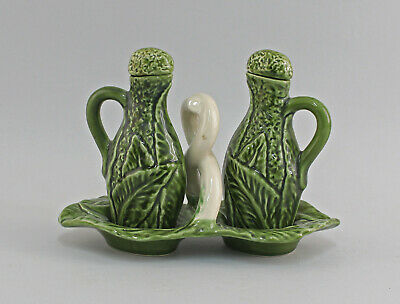 9918642 Oil/Vinegar Cruet Stand Savoy Cauliflower Ceramics Majolika Portugal • 44.75£