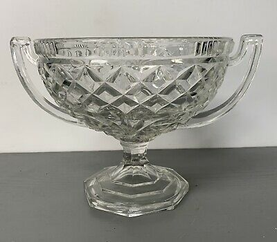 Beautiful Large Crystal Cut Glass Punch Bowl With Handles • 19.99£