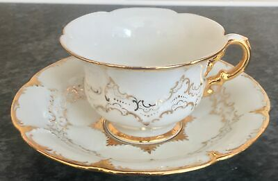 First Quality MEISSEN Porcelain GOLD & WHITE B1546 Pattern CUP & SAUCER DUO • 23£