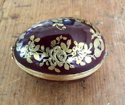 Limoges Hand Painted Egg Trinket Box • 14£