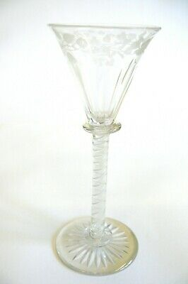 Air Twist Hand Blown Wine Glass With Thistle Floral Engraving • 60£