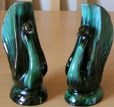 Vintage Blue Mountain Pottery - Pair Of Swan/Goose Spill Vases • 34.99£