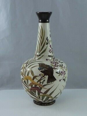 Lovely Antique Earthenware Hand Painted Bird Vase Aesthetic • 24.95£