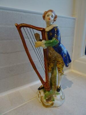 Antique Crown Derby Figure Of A Man Playing The Harp • 64.95£