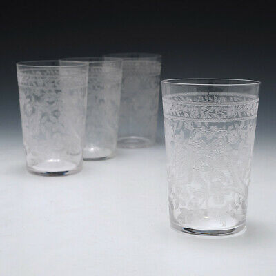 Set Of Four Machine Engraved Victorian Whisky Tumblers C1895 • 155£